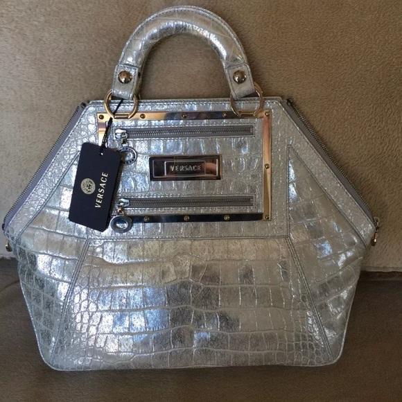 Versace Bags   St Cocco Perlato Handbag Metallic   Poshmark 053a6826e6